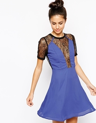 Wyldr Gothic Skater Dress With Lace Insert Blue