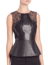 Bcbgmaxazria Faux Leather And Lace Sleeveless Peplum Top Black