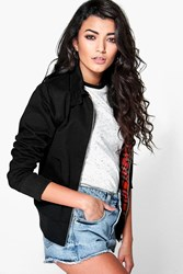 Boohoo Tartan Lined Harrington Bomber Black