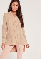 Missguided Suedette Lace Up Longline Blouse Tan Brown