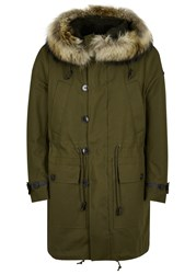 Valentino Army Green Fur Trimmed Cotton Parka