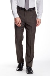 Louis Raphael Windowpane Flat Front Wool Pant Green