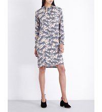 Dries Van Noten Daly Cheetah Print Crepe Shirt Dress Lilac