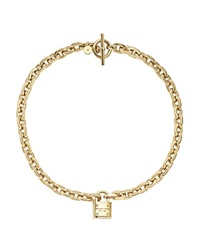 Michael Kors Chain Link Padlock Toggle Necklace 16 Gold