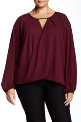 Single Dress Diane Flip Front Long Sleeve Blouse Plus Size Red