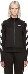 Off White Black Sporty Logo Zip Up