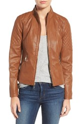 Guess Women's Faux Leather Jacket Cognac