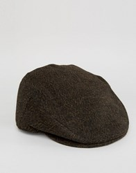 Asos Flat Cap In Brown Herringbone Brown