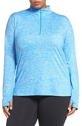 Nike Plus Size Women's 'Element' Dri Fit Half Zip Running Top Light Photo Blue Silver
