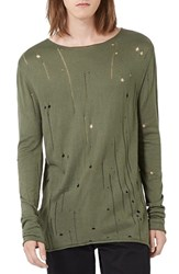 Topman Men's Moth Distressed Long Sleeve Knit T Shirt