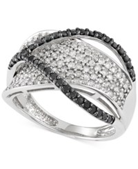 Macy's Black And White Diamond 1 Ct. T.W Crossover Ring In 14K White Gold
