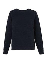 Whistles Diamond Quilted Sweatshirt Navy