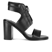 Senso Women's Valleri Vi Leather Lace Up Heeled Sandals Ebony Black