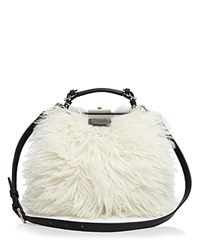 Etienne Aigner Long Hair Shearling Doctor Satchel White Fur