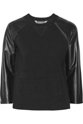 Reed Krakoff Leather Paneled Cashmere Wool And Silk Blend Top