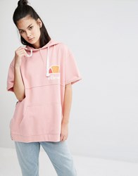Ellesse Oversized Short Sleeve Hoodie With Vintage Chest Logo And Side Zip Features Dusty Pink