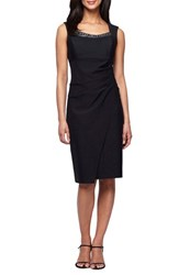 Alex Evenings Women's Embellished Neck Ruched Sheath Dress