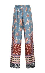 For Restless Sleepers Zeus Printed Silk Pants Bue Red White