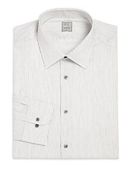 Ike Behar Pinstriped Cotton Dress Shirt Steel