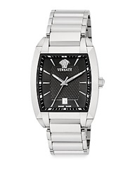 Versace Character Stainless Steel Square Watch Silver Black