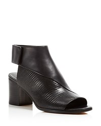 Vince Julianna Open Toe Mid Heel Booties Black