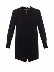 Valentino Scarab Necklace Silk Blouse Black