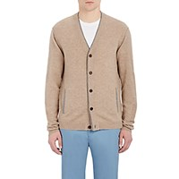 Barneys New York Men's Cashmere V Neck Cardigan Tan
