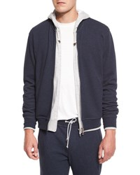 Brunello Cucinelli Baseball Collar Zip Up Sweatshirt Blue