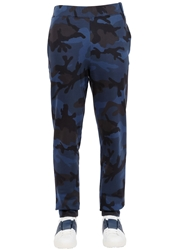 Valentino Camo Printed Cotton Jogging Pants Blue
