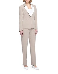 Tahari By Arthur S. Levine Crepe Jacket And Pant Suit Beige White