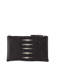 Lauren Merkin Pyramid Leather Evening Clutch Bag Black