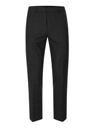 Topman Black Subtle Check Skinny Fit Cropped Trousers
