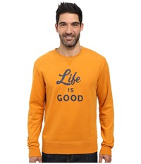 Life Is Good Script And Bold Go To Crew Artisan Gold Men's Long Sleeve Pullover Tan