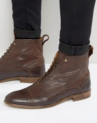 Asos Lace Up Boots In Brown Leather Brown