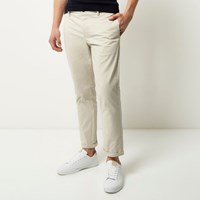 River Island Mens Grey Stretch Cropped Slim Chino Trousers