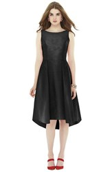 Women's Alfred Sung Bow Back Dupioni Fit And Flare Midi Dress Black