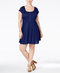 Love Squared Plus Size Short Sleeve Fit And Flare Dress Navy