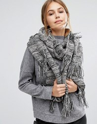 Pieces Knitted Long Scarf With Tassels Black Moonbeam