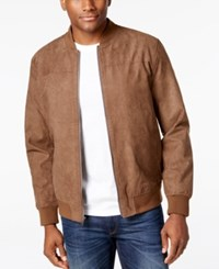 Tasso Elba Men's Microsuede Bomber Jacket Only At Macy's Brown Combo