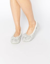 Totes Knit Ballet Slippers Grey Lurex