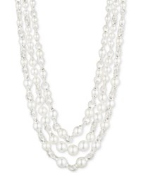 Anne Klein Silver Tone Imitation Pearl And Pave Link Layer Necklace