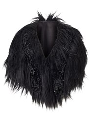 Phase Eight Beaded Fur Cape Black