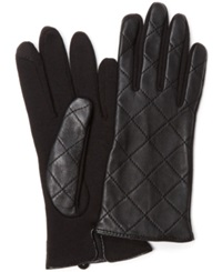 Charter Club Quilted Leather Gloves Black