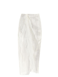 Baja East Striped Linen And Silk Blend Wrap Skirt