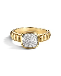 John Hardy Bedeg 18K Gold And Diamond Pave Square Station Slim Band Ring Gold White