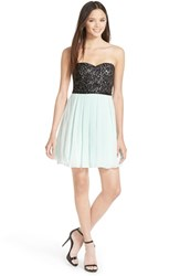 Junior Women's Sequin Hearts Strapless Lace Bodice Skater Dress
