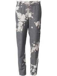 Raquel Allegra Faded Houndstooth Straight Trousers Black
