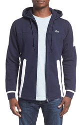 Lacoste Men's Colorblock Fleece Zip Hoodie Navy Blue White