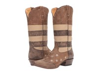 Roper Vintage Americana Flag Sepia Tone Distressed Leather Cowboy Boots Brown