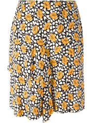 Marni Flower Print Flared Skirt Black